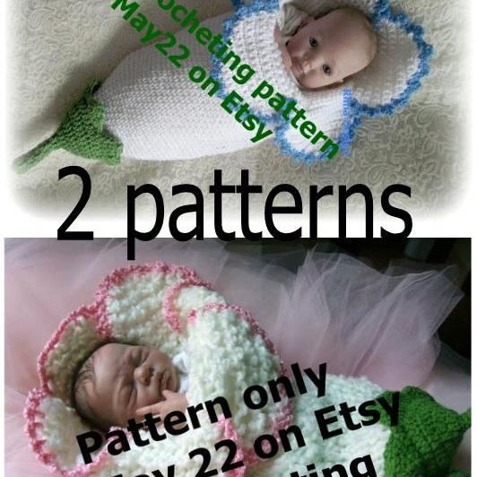 2 Two FLOWER Cocoon PDF PATTERNS KNITTING And CROCHETING Original Rima Design Lily Amaryllis Bell Baby Permission To Sell Finished Produc
