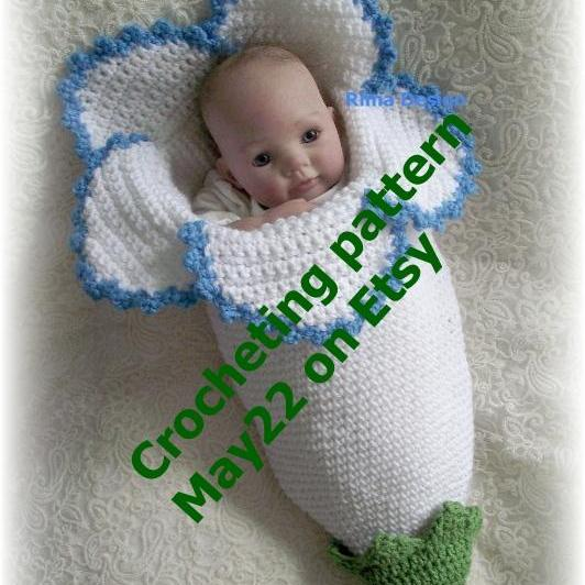 FLOWER Cocoon PDF CROCHET PATTERN Original Design Lily Amaryllis Bell Baby Permission To Sell Finished Product