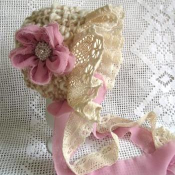 Baby girl 0-6 Victorian style hat bonnet pink mohair cream wool pink lace pink ribbon photography props handmade in Canada